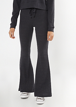 Charcoal Gray Ribbed Super Soft Hacci Flare Pants