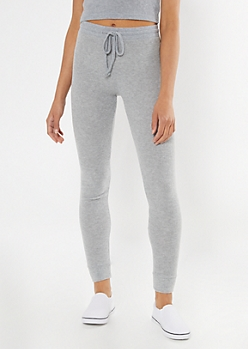 Heather Gray Ribbed Super Soft Hacci Leggings