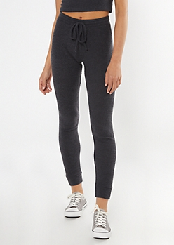 Charcoal Gray Ribbed Super Soft Hacci Leggings