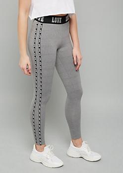 Heather Gray Love Side Striped Fleece Leggings