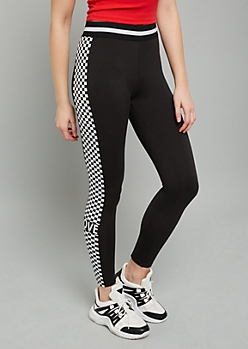 Black Love Checkered Print Super Soft Mid Rise Leggings