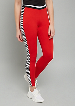 Red Love Checkered Print Super Soft Mid Rise Leggings