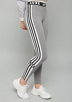 Gray Love Side Striped Super Soft Mid Rise Leggings