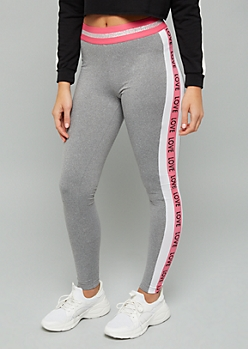 Gray Love Striped Super Soft High Waisted Leggings
