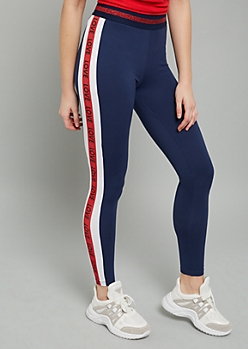 Navy Metallic Love Striped Super Soft High Waisted Leggings