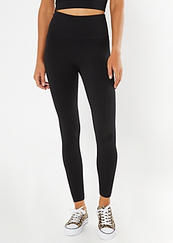 Black Ribbed Seamless Leggings