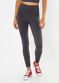 Charcoal Gray Ribbed Seamless Leggings