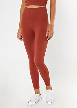Burnt Orange Ribbed Seamless Leggings