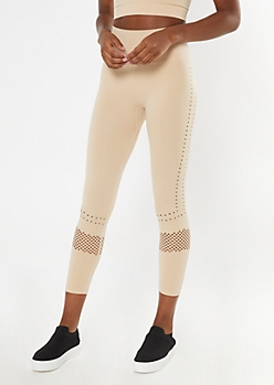 Tan Laser Cut Seamless Leggings