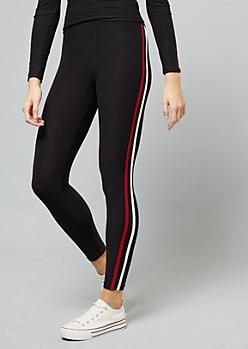 Black Side Striped High Waisted Leggings