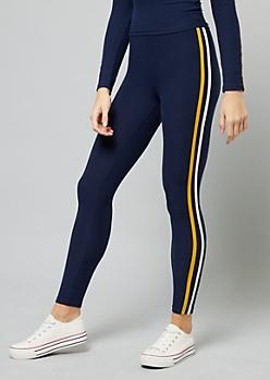 Navy Side Striped High Waisted Leggings