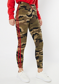 Camo Print Striped Super Soft Leggings