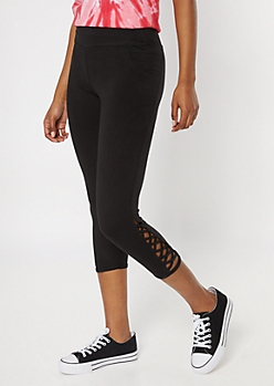 Black Super Soft Cell Phone Pocket Lattice Leggings