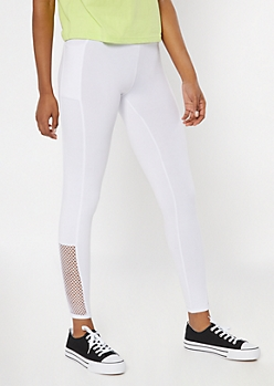 White Super Soft Cell Phone Pocket Fishnet Leggings