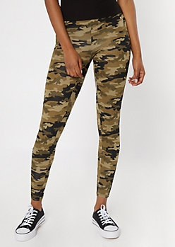 Camo Print Super Soft Cell Phone Pocket Fishnet Leggings