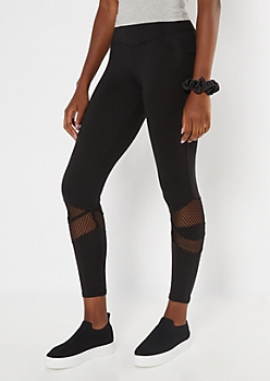 Black Mesh Cellphone Pocket Leggings