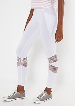 White Mesh Cellphone Pocket Leggings