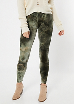 Green Tie Dye Plush Velvet Leggings