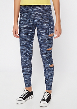 Blue Space Dye Side Cutout Leggings