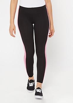 Pink Super Soft Side Striped Leggings
