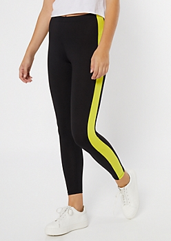 Yellow Super Soft Side Striped Leggings
