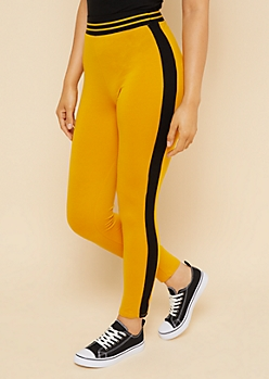 Yellow Varsity Striped Pattern Elastic Waistband Leggings