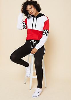 Black Varsity Striped Pattern Mid Rise Tie Leggings