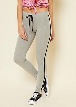 Gray Varsity Striped Pattern Mid Rise Tie Leggings