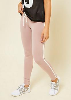Pink Varsity Striped Pattern Mid Rise Tie Leggings