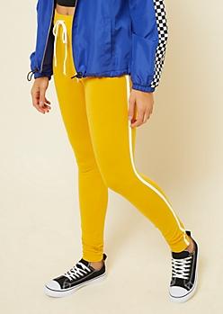 Yellow Varsity Striped Pattern Mid Rise Tie Leggings