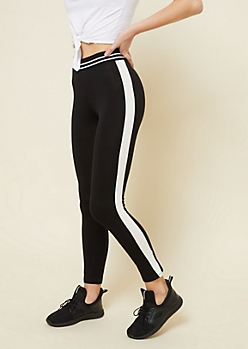 Black Side Striped Elastic Waistband Leggings