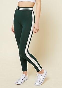 Green Varsity Striped Pattern Elastic Waistband Leggings