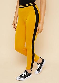 Yellow Varsity Striped Pattern Elastic Waistband Leggings