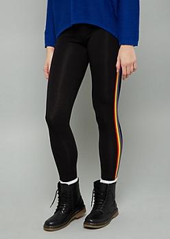 Black Rainbow Side Striped Mid Rise Leggings