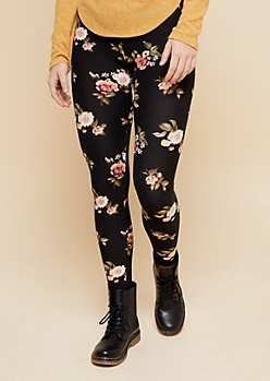 Black Floral Print High Waisted Super Soft Leggings