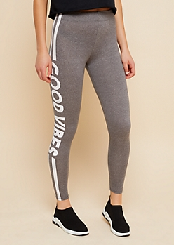 Heather Gray Good Vibes High Waisted Super Soft Leggings