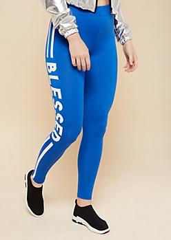Blue Blessed High Waisted Leggings
