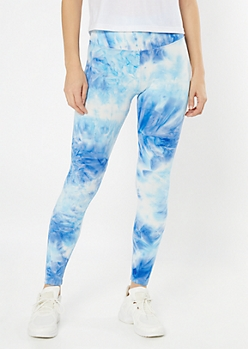 Blue Tie Dye Mid Rise Super Soft Leggings