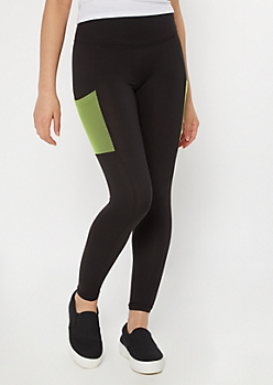 Black Super Soft Mesh Cell Phone Pocket Leggings