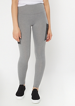 Gray Super Soft Mesh Cell Phone Pocket Leggings