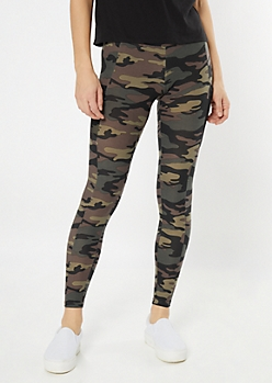 Camo Print Super Soft Mesh Cell Pocket Leggings