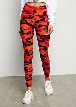 Red Camo Print High Waisted Super Soft Leggings