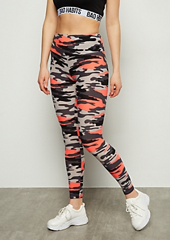 3cb3e9aebc835 Coral Camo Print High Waisted Super Soft Leggings