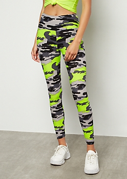 Neon Yellow Camo Print High Waisted Super Soft Leggings