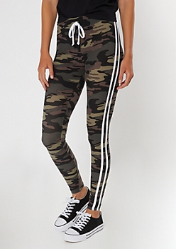 Camo Print Varsity Striped High Waisted Super Soft Leggings