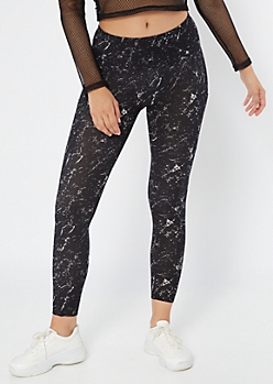Black Marbled Print High Waisted Cell Phone Pocket Leggings