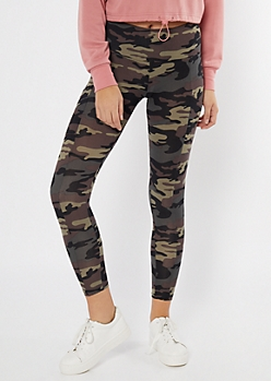 Camo Print Cell Phone Pocket Leggings