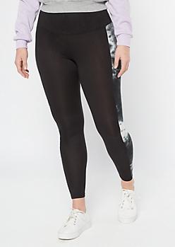 Black Tie Dye Side Striped High Waisted Leggings