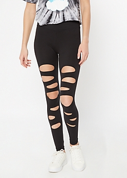 Black Cutout Distressed Super Soft Leggings
