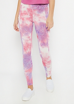 Pink Tie Dye High Waisted Cell Phone Pocket Leggings